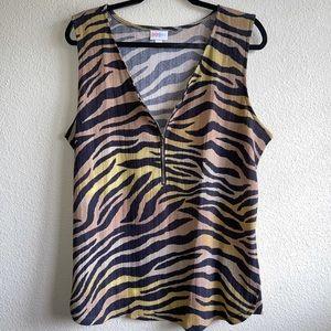 LuLaRoe Tiger Print Rachel Tank Top Plus Size